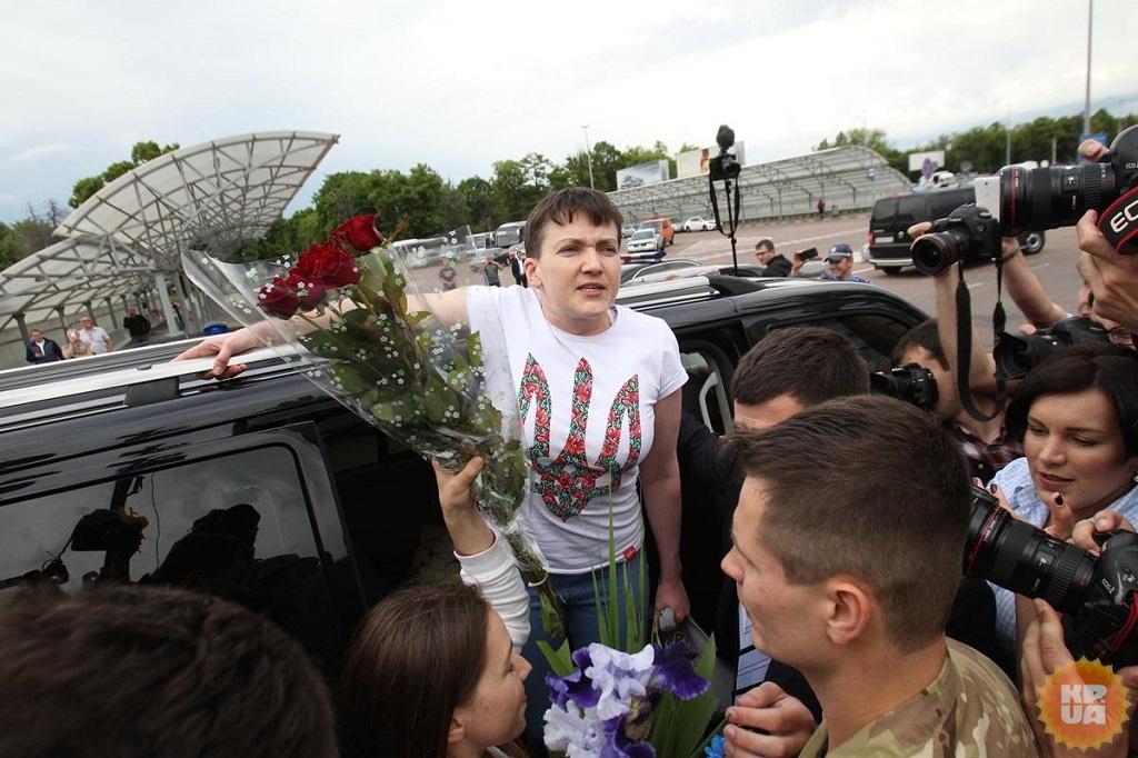 Надежду Cавченко встречал президентский кортеж (+ВИДЕО)