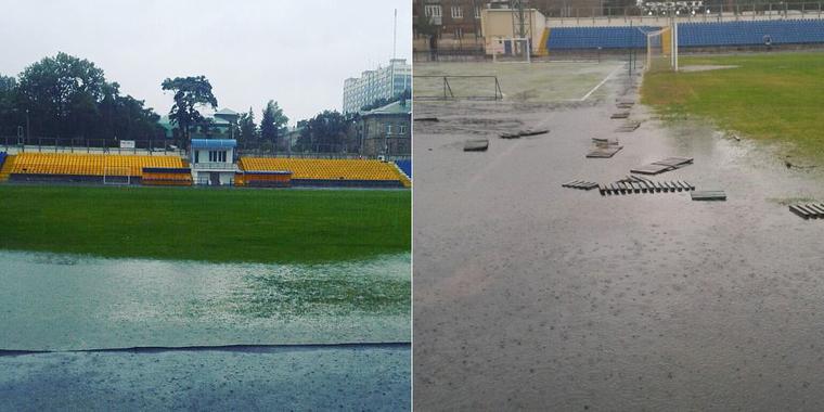 Потоп в Одессе. Стадион Спартак затопило