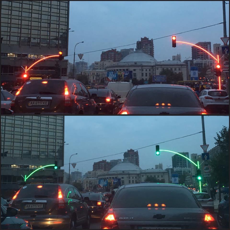 ВКиеве установили экспериментальный светофор