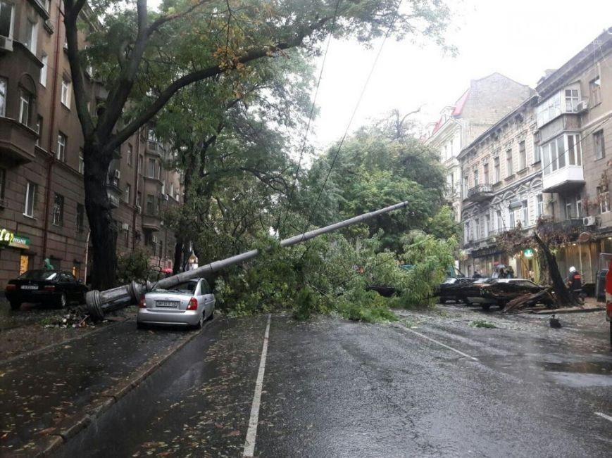 Ураган в Одессе: деревья падают, машина плывут