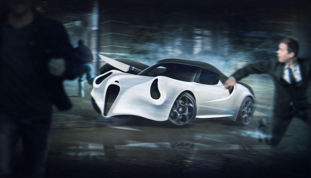 Alfa Romeo 4C в маске «Призрачное лицо» из серии фильмов ужасов «Крик»