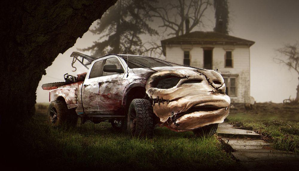Dodge Ram 1500 в облике Кожаного лица, главного героя серии американских фильмов ужасов «Техасская резня бензопилой»