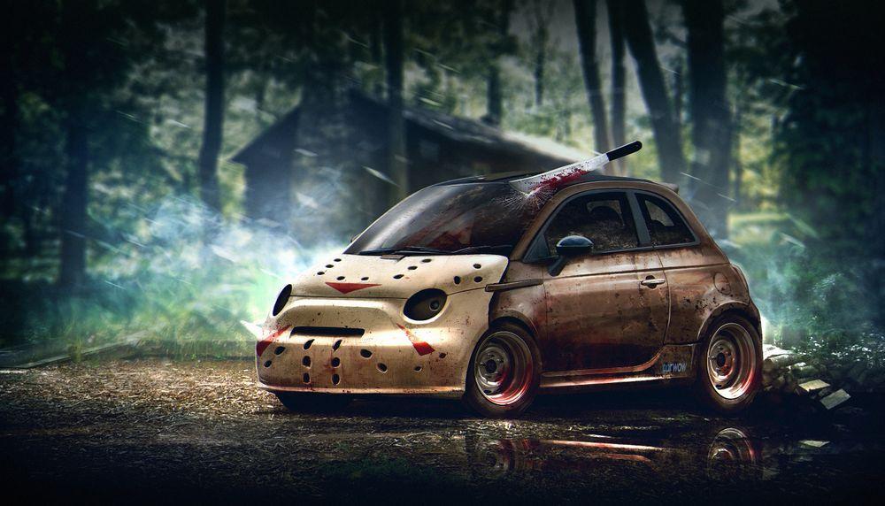 Fiat Abarth 500 в образе маньяка Джейсона Вурхиза, главного героя фильмов серии «Пятница, 13-е»