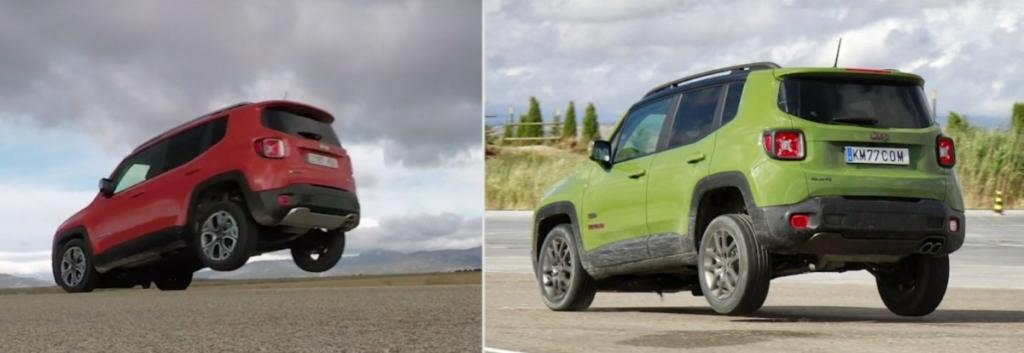 Кроссовер Jeep Renegade встает на два колеса при резком торможении
