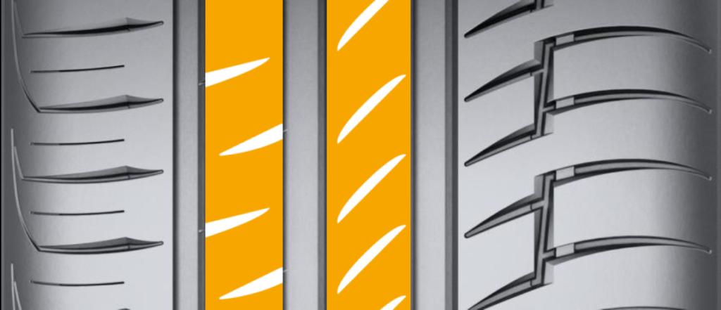 Для эффективного удаления воды из пятна контакта при торможении центральные блоки вооружили модернизированными «закрытыми» и «полузакрытыми» ламелями. Новые ламели с одной стороны сохранили жесткость центральных блоков, отвечающих за точность управления и устойчивость, а с другой обладают возможностью снятия слоя воды при торможении и ее накопления до их выхода из зоны контакта с дорогой.