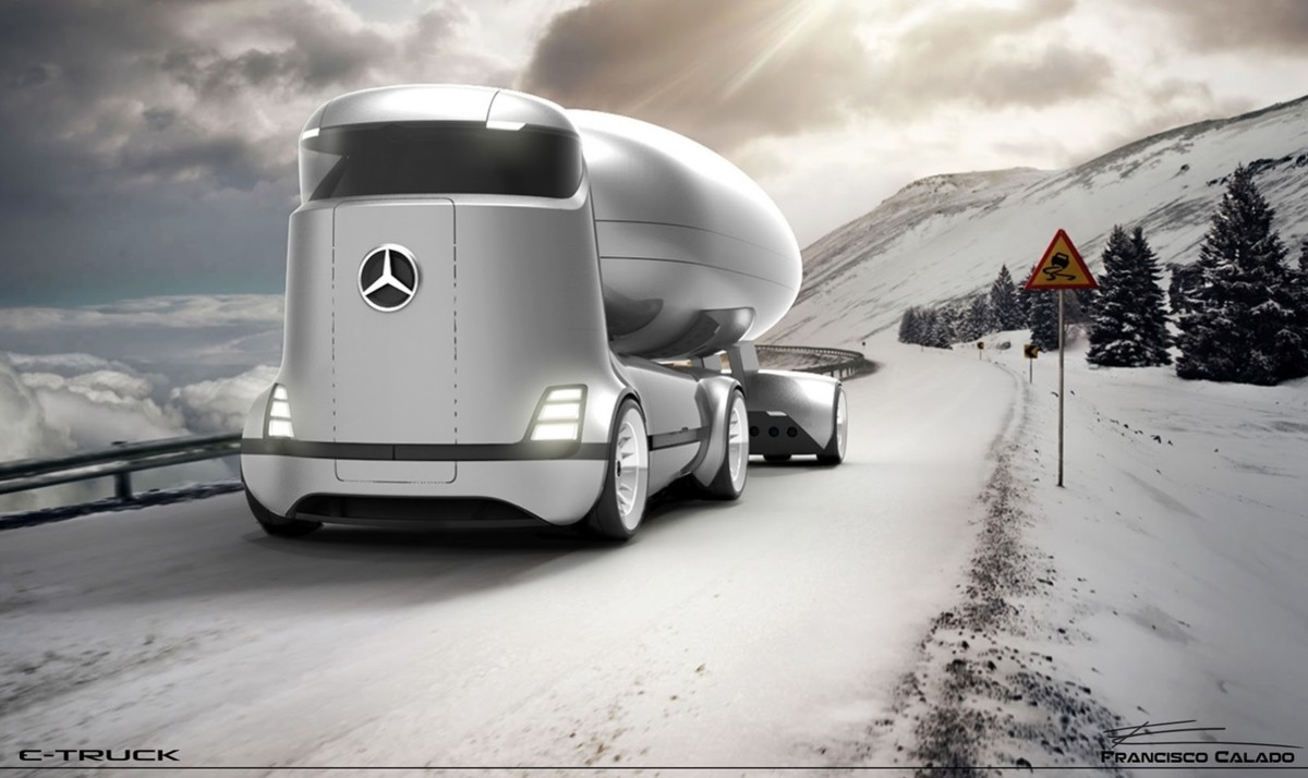 Представлен тизер футуристического грузового автомобиля Мерседес Бенс E-Truck Concept
