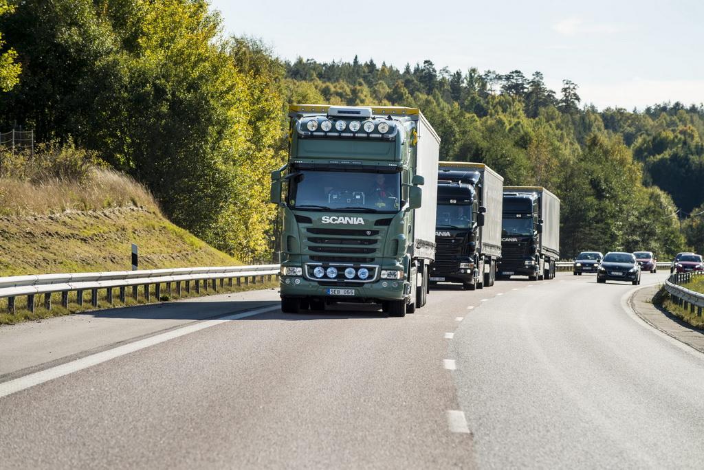 Автономные грузовики platooning