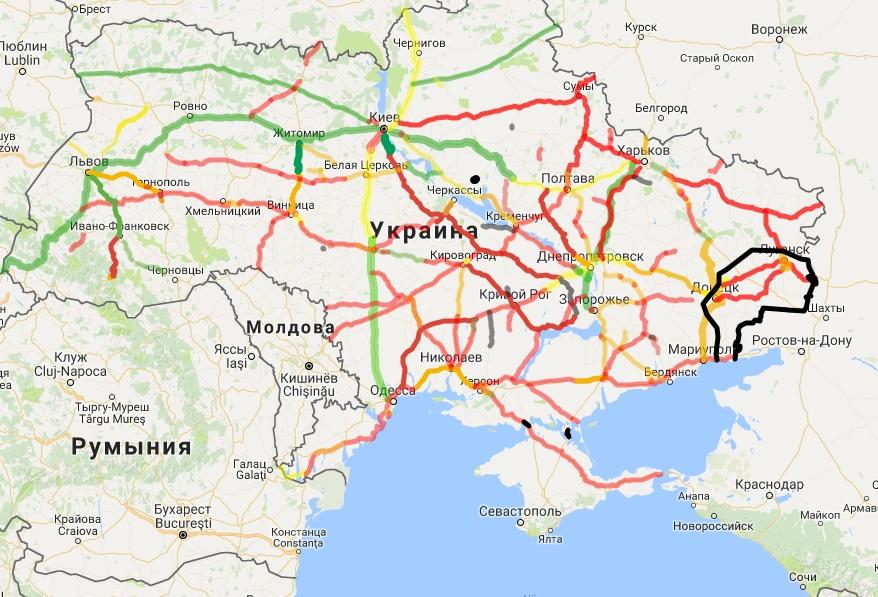 Автодороги Украины: карта состояния дорог
