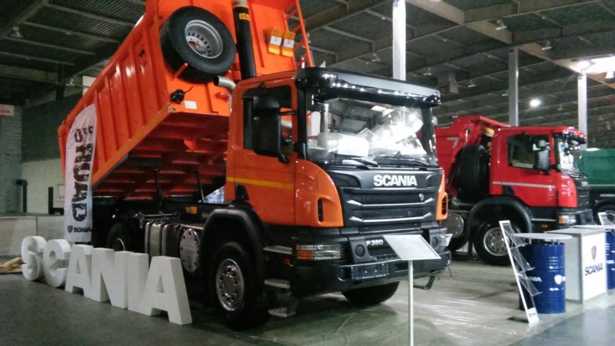 Грузовики марки Scania на выставке «Автотрасса: Дороги. Мосты.Тоннели»