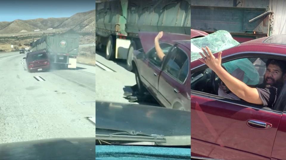 Фургон случайно протащил легковую машину пошоссе