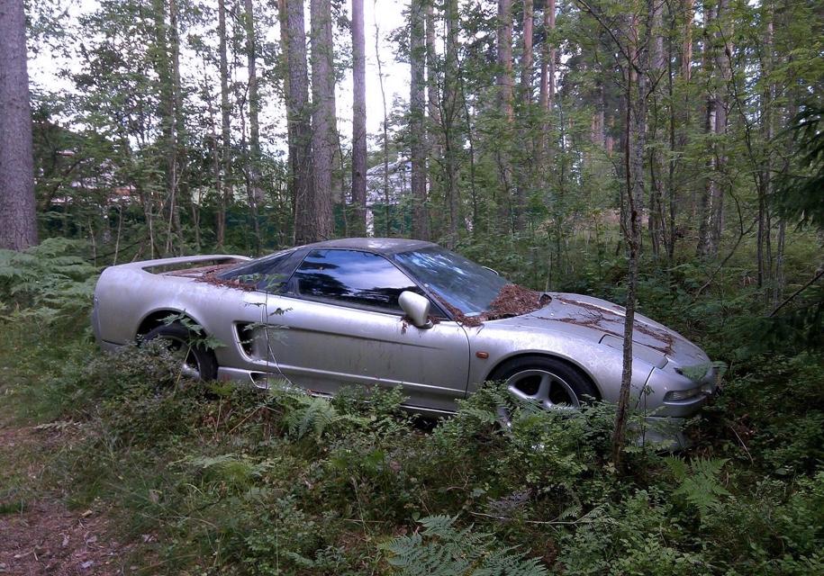 Влесу под Петербургом обнаружили брошенный спорткар Хонда NSX