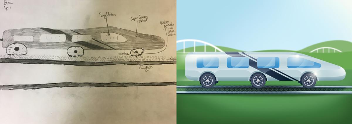 Дети нарисовали автомобили будущего - авто-поезд
