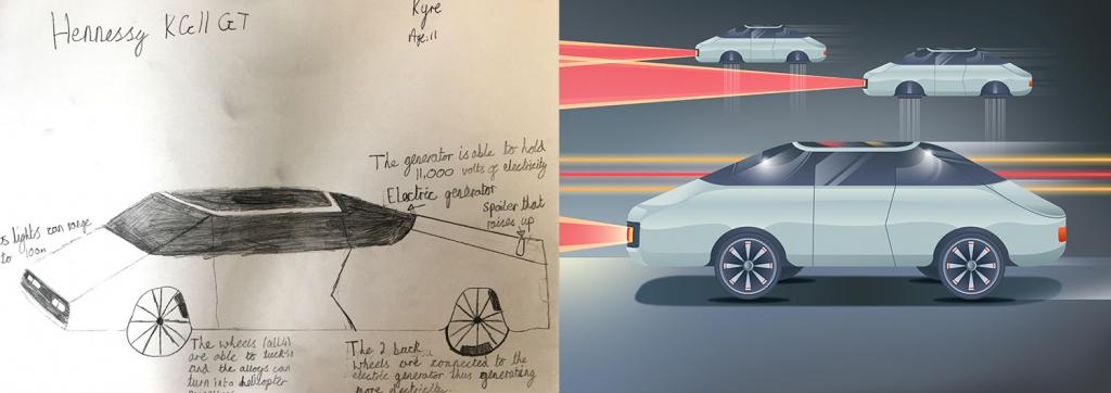 Дети нарисовали автомобили будущего - авто с колесами-роторами