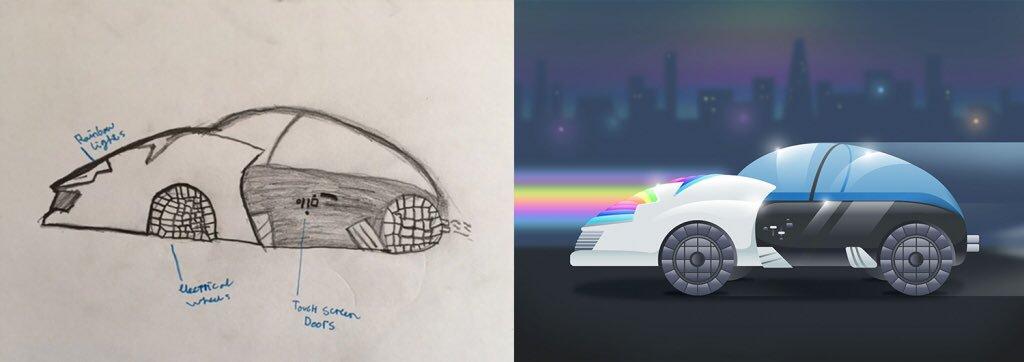 Дети нарисовали автомобили будущего - радужные фары
