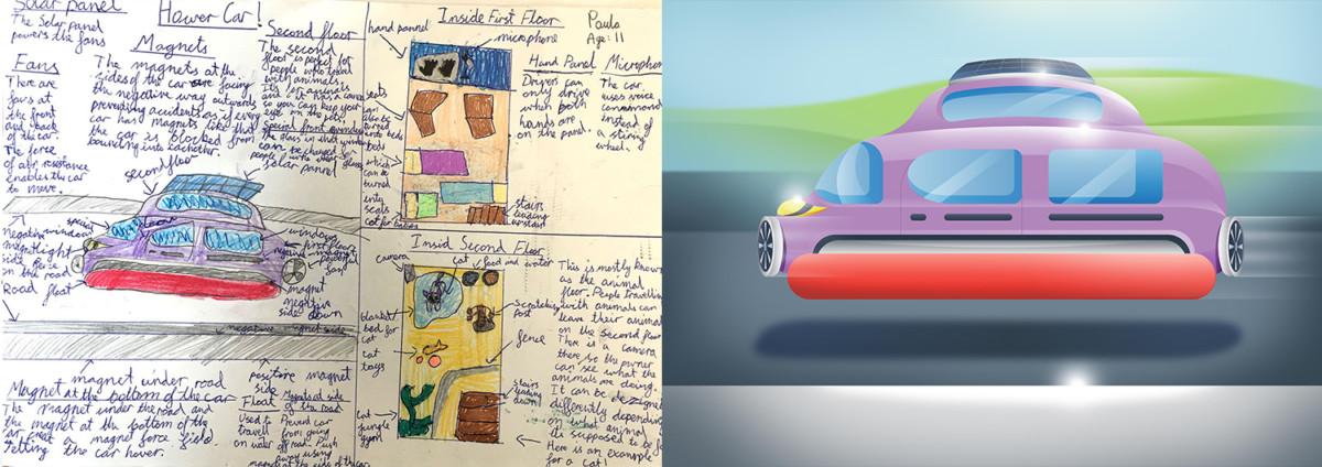 Дети нарисовали автомобили будущего - машина маглев