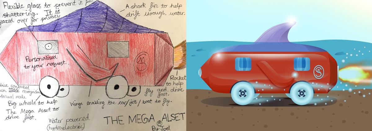 Дети нарисовали автомобили будущего - подводное авто