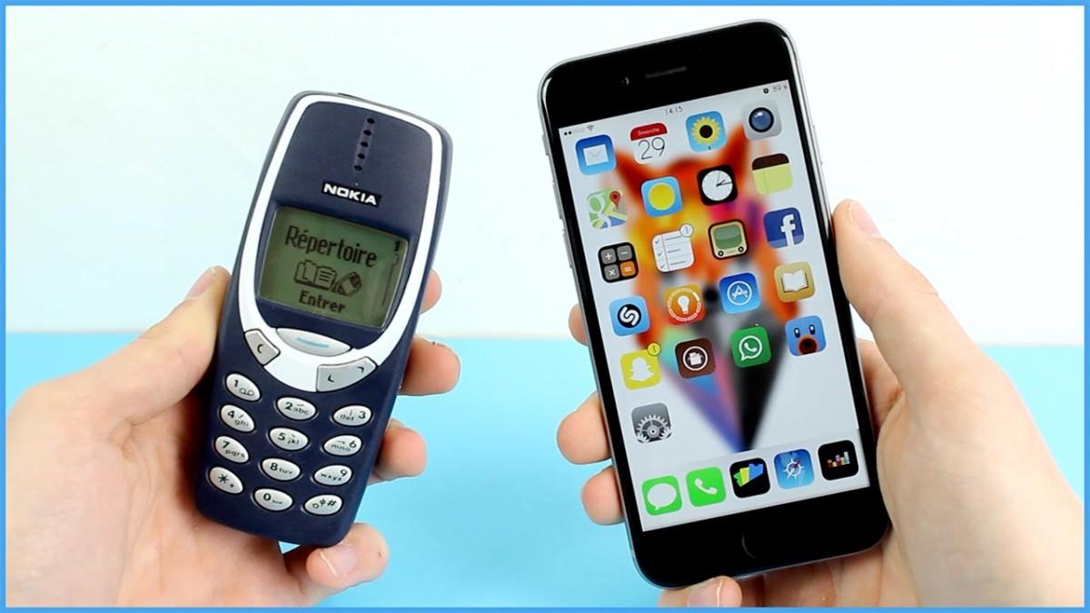 Сравнение айфона и старой нокиа