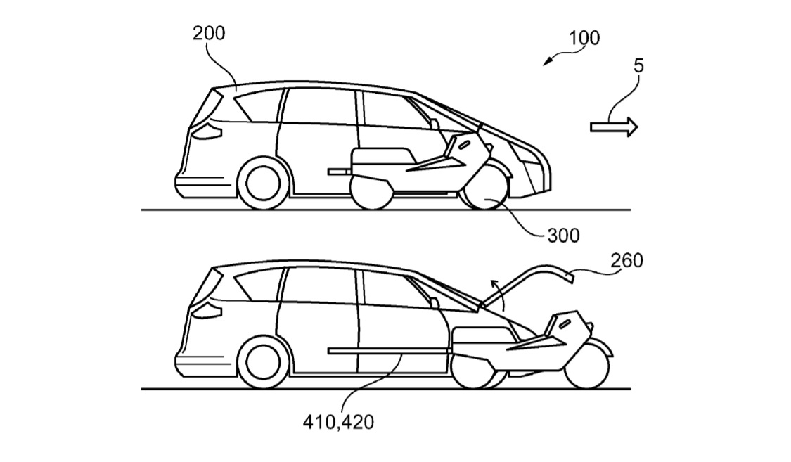 Ford запатентовал автомобиль со встроенным автономным электрическим мотоциклом