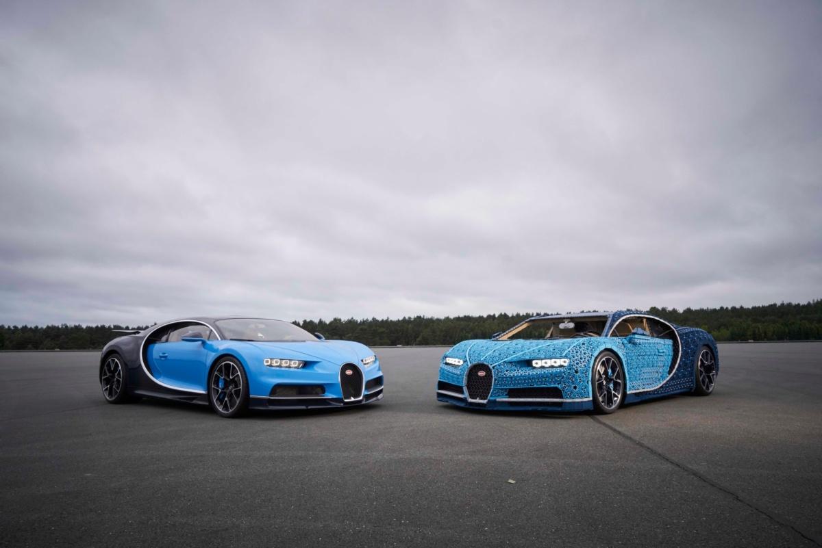 Lego Chiron копия Bugatti Chiron из деталей Лего на треке