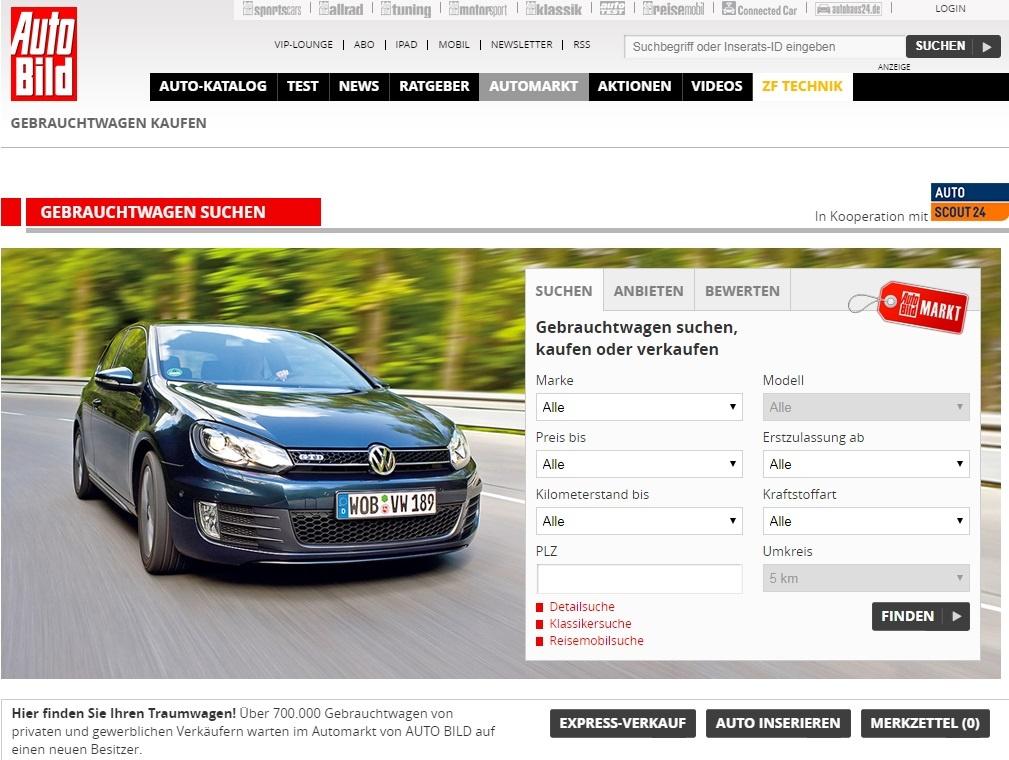 5d5843b15144b Gebrauchtwagen.de (на немецком). Довольно яркая внешне доска объявлений по  продаже б/у авто в Германии. ...