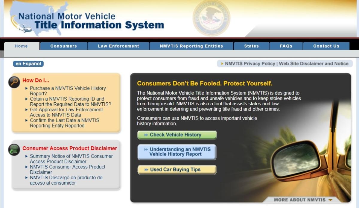 Проверить историю подержанного авто из США по VIN-коду - Национальная база проверки истории моторизированных транспортных средств США
