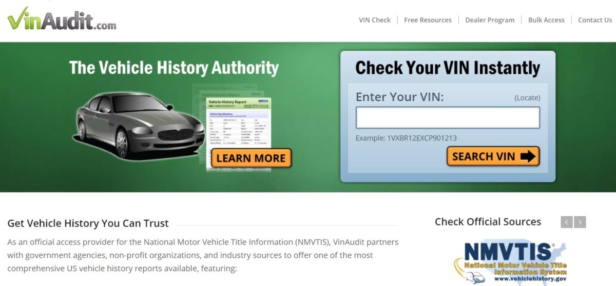 Проверить историю подержанного авто из США по VIN-коду - VinAudit