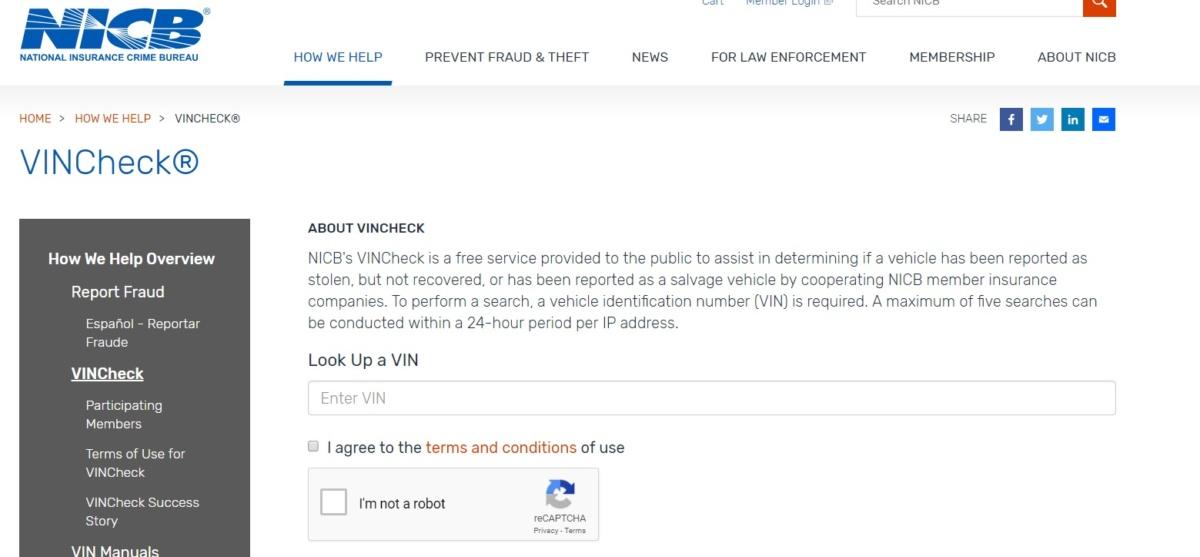 Проверить историю подержанного авто из США по VIN-коду - сайт Национального бюро США по страховой преступности и расследованиям