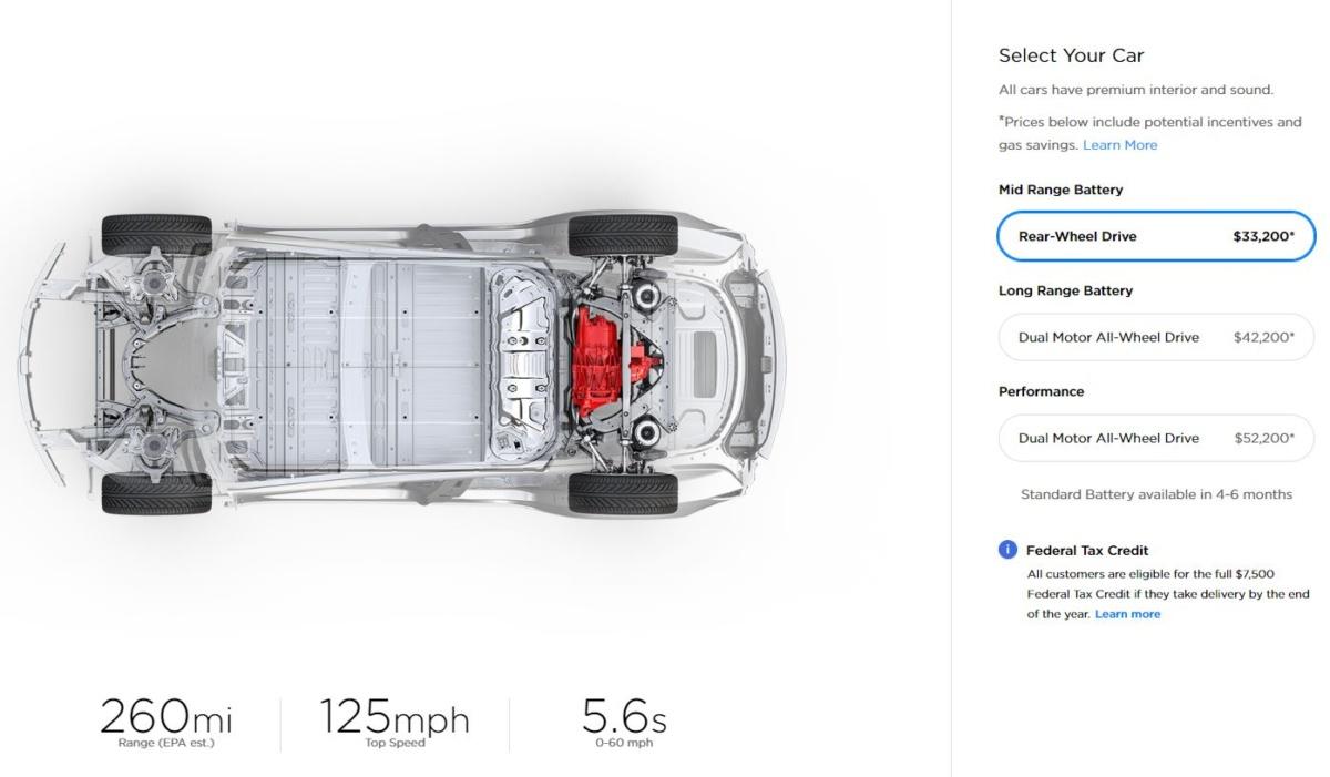 Tesla Model 3 Mid RangeRWD