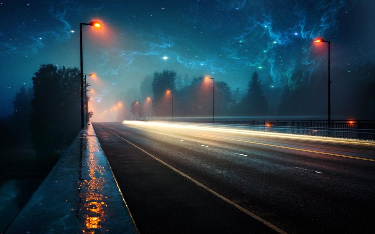уличное освещение городов ночью
