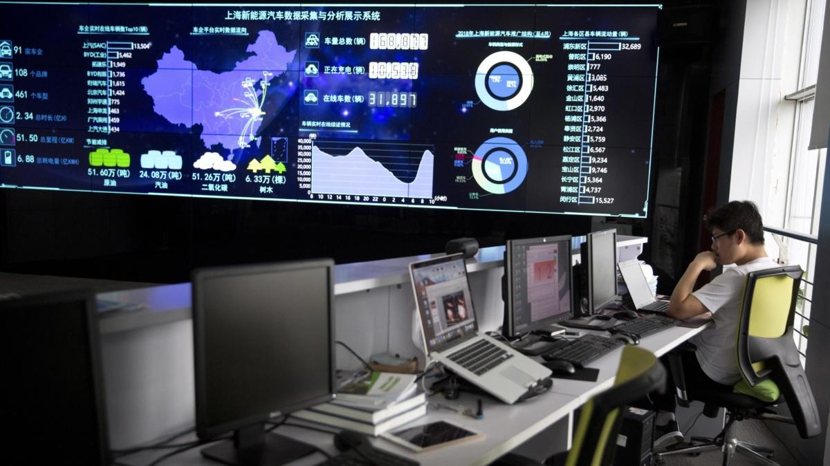 Китайский центр мониторинга за авто на электротяге