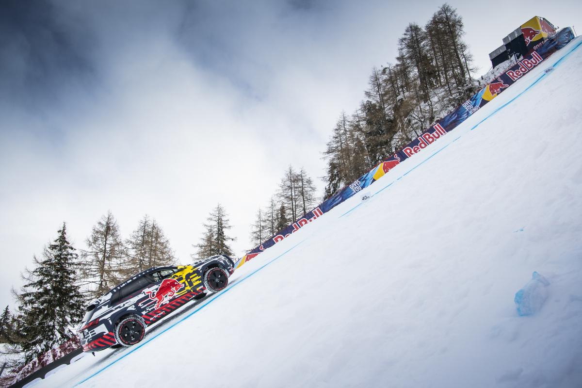 Audi e-tron на горнолыжной трассе Штрайф