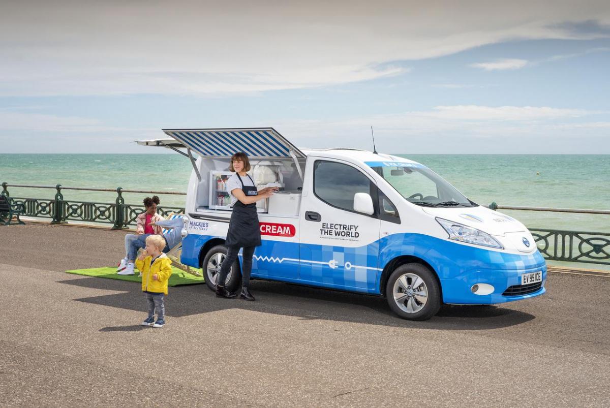 бэушные батареи от Nissan Leaf получили вторую жизнь в фургоне для продажи мороженого