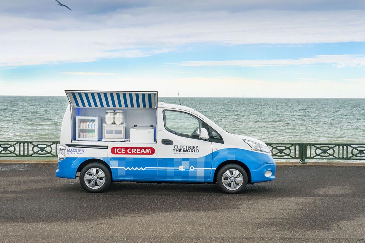 фургон для продажи мороженого на основе бэушных батарей от Nissan Leaf