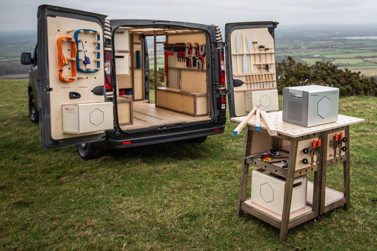 мобильная столярная мастерская сделана с помощью бэушных батарей от Nissan Leaf